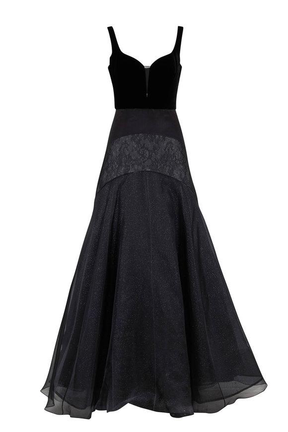 Olivine Gabbro Reine Black Tulle Sleeveless Gown