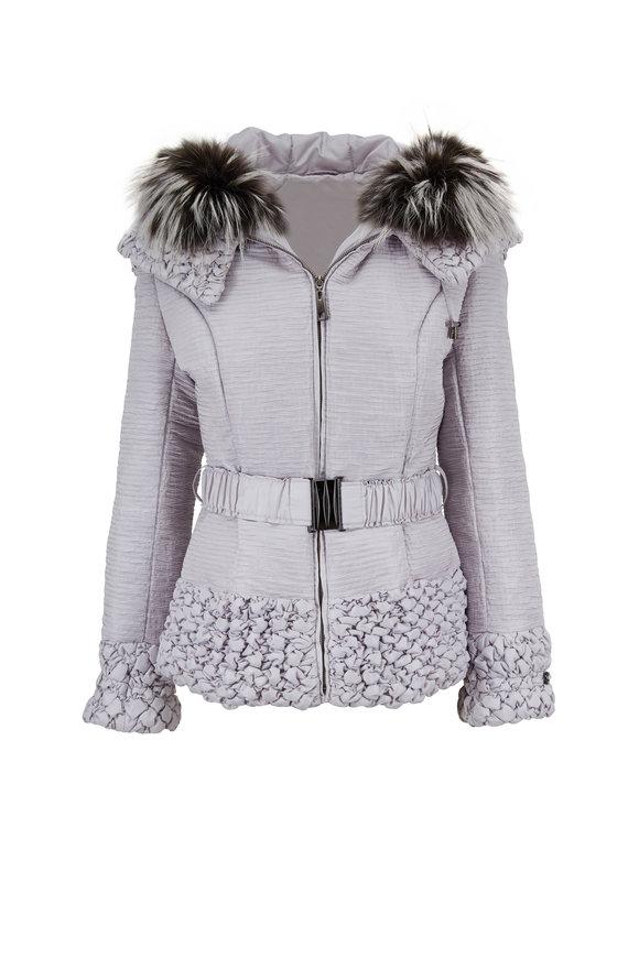 Viktoria Stass Silver Short Fur Trim Hooded Jacket