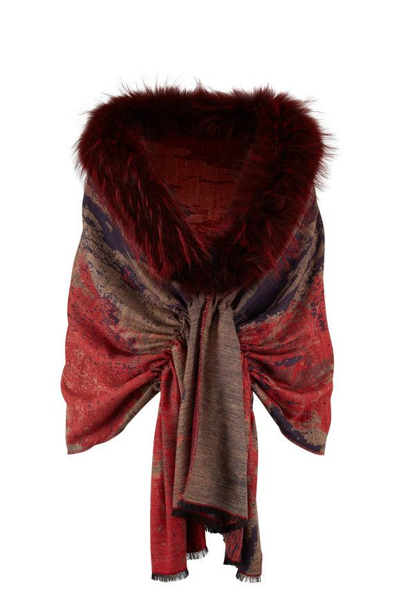 Viktoria Stass Red & Blue Crimson Mix Fur Trim Shoulder Wrap