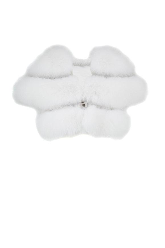 Viktoria Stass White Fur & Studs Evening Bolero