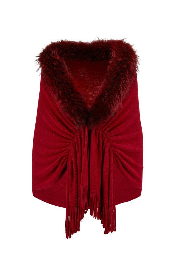 Viktoria Stass Cranberry Fur Trim Shoulder Wrap