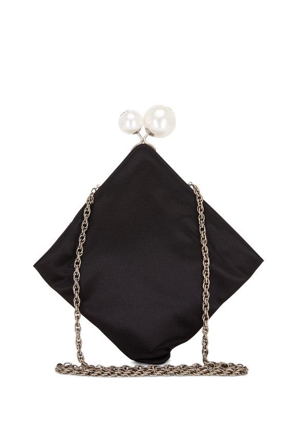 Rodo Firenze Black Silk Pearl Closure Chain Crossbody