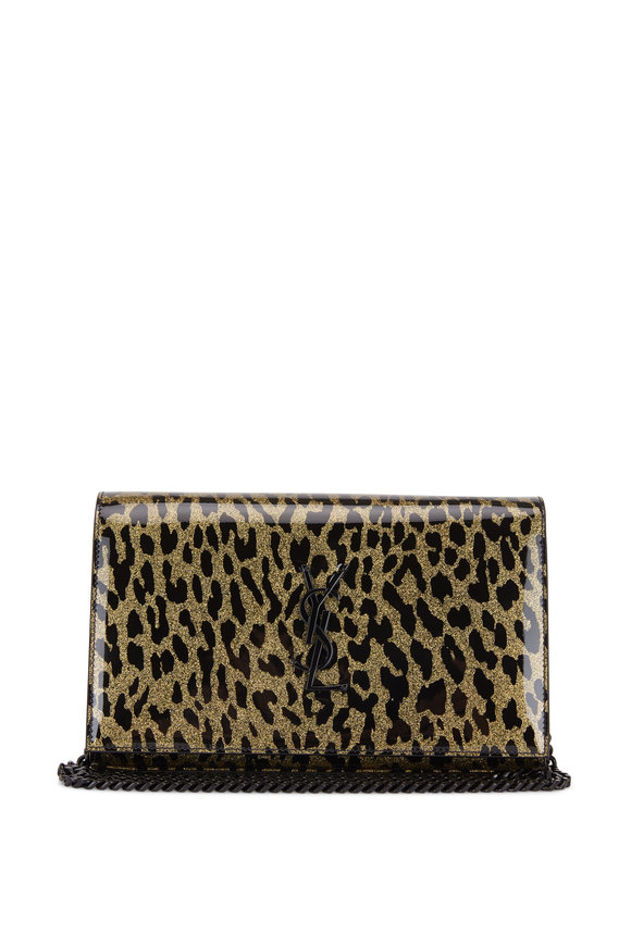 Saint Laurent Kate Light Gold Leopard Print Vinyl Chain Wallet