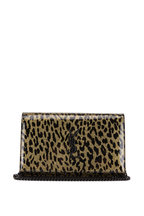 Saint Laurent - Kate Light Gold Leopard Print Vinyl Chain Wallet