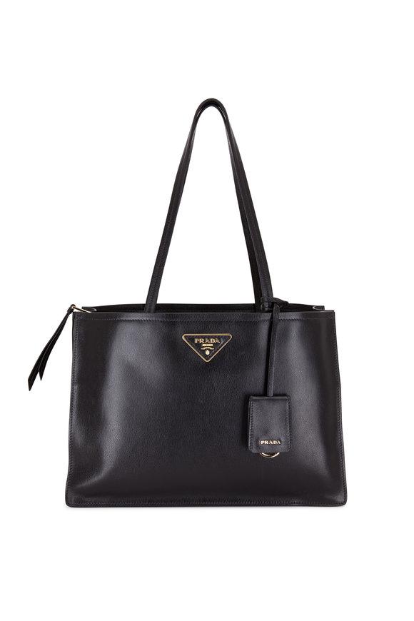 Prada Black Glace Leather Small Tote Bag