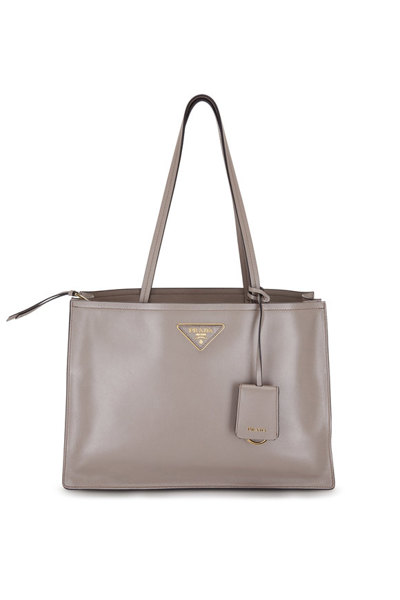 Prada Gray Argilla Leather Small Tote Bag