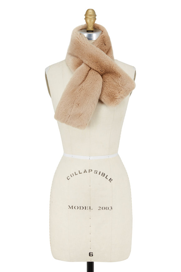 Viktoria Stass Taupe Double Sided Fur Scarf