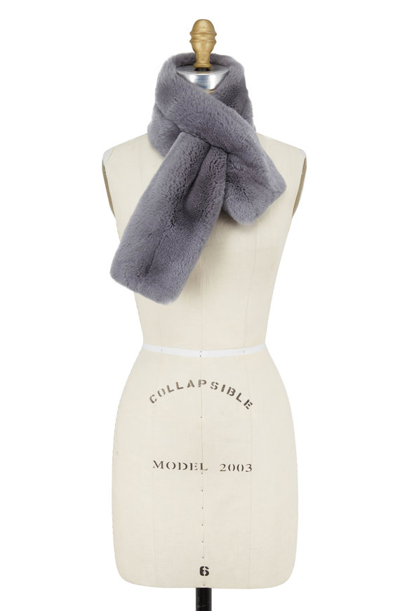 Viktoria Stass Gray Double Sided Fur Scarf