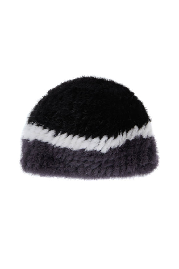 Viktoria Stass Black, White & Gray Knitted Mink Hat