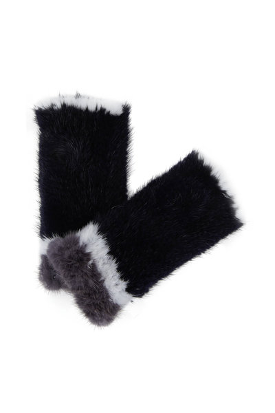 Viktoria Stass - Navy, White & Gray Mink Knitted Fingerless Gloves