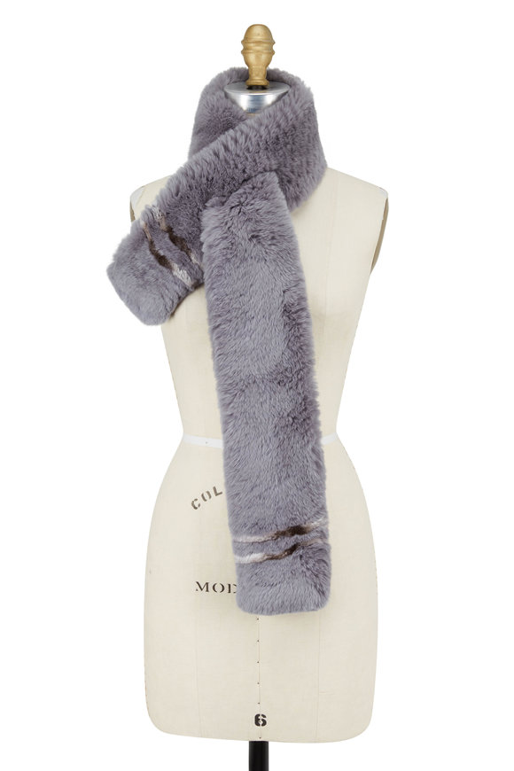 Viktoria Stass Gray Fur Punched Scarf