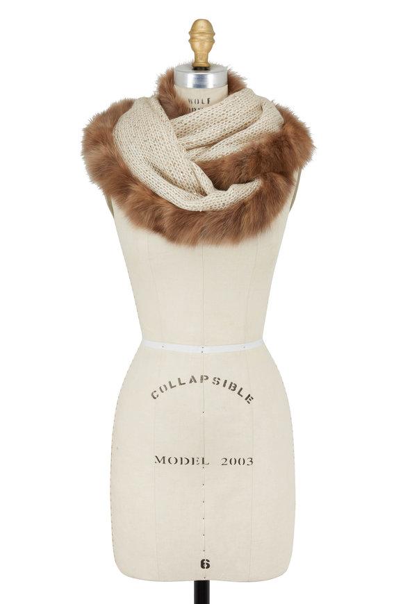 Viktoria Stass Ivory & Brown Fur Trim Infinity Sparkle Scarf