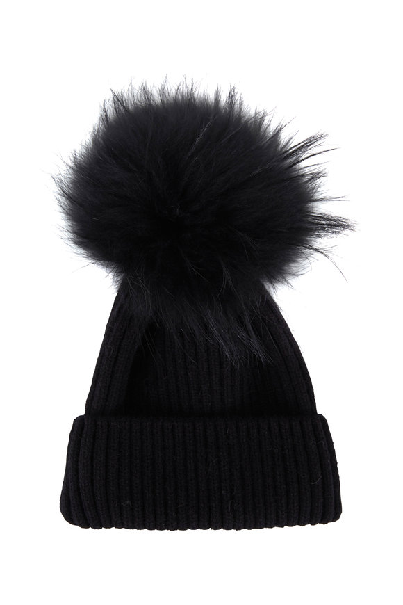 Viktoria Stass Black Fur Pom Pom Knit Hat
