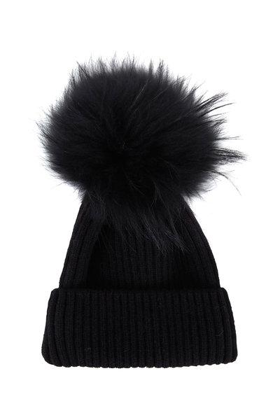 Viktoria Stass - Black Fur Pom Pom Knit Hat