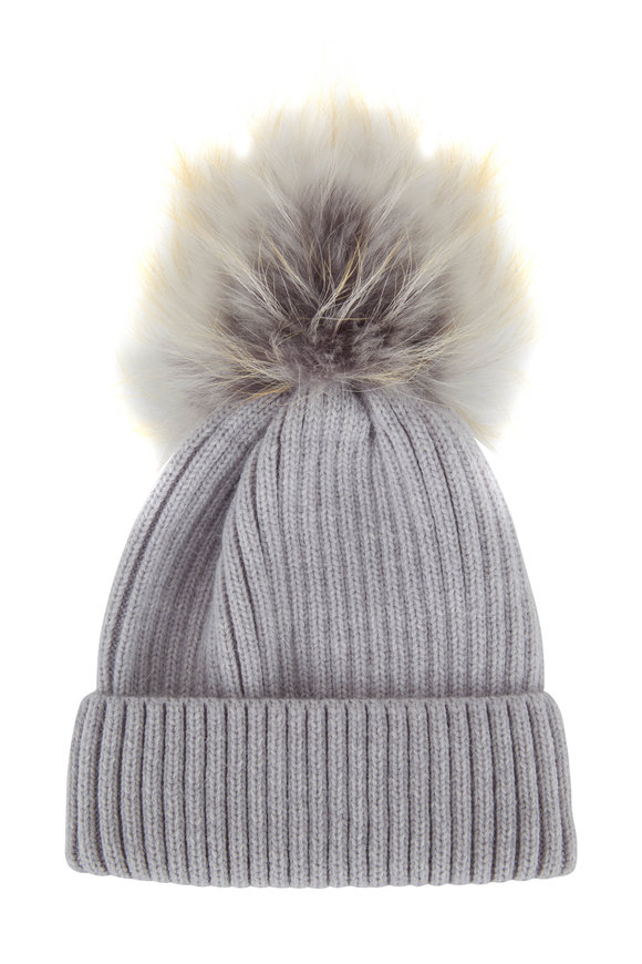 Viktoria Stass Gray Fur Pom Pom Ribbed Knit Beanie
