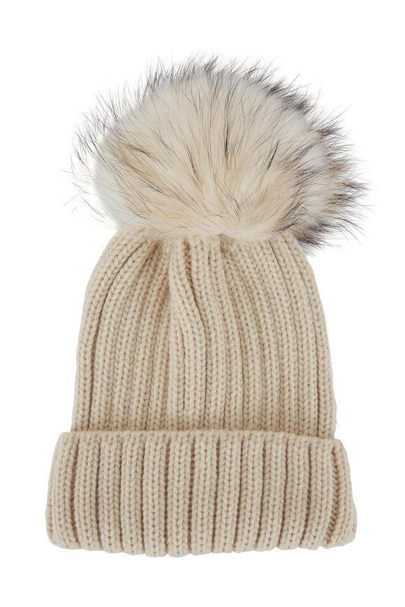 Viktoria Stass Ivory Fur Pom Pom Ribbed Knit Beanie