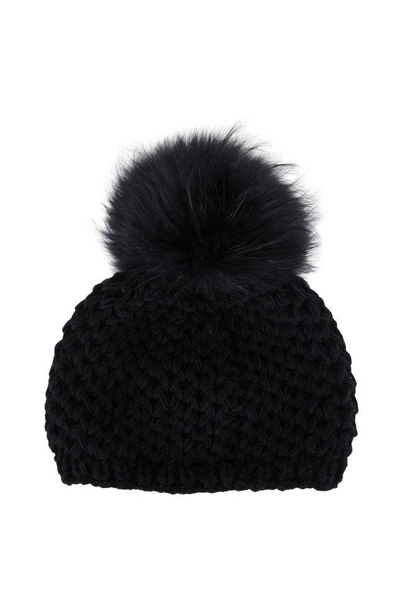 Viktoria Stass Black Fur Pom Pom Slouchy Knit Hat