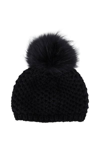 Viktoria Stass - Black Fur Pom Pom Slouchy Knit Hat