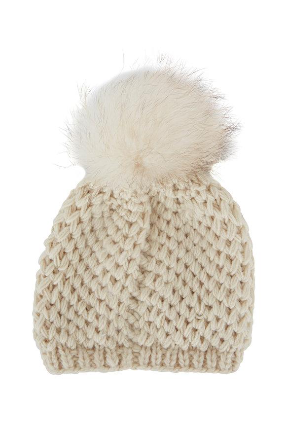Viktoria Stass Cream Fur Pom Pom Slouchy Knit Hat