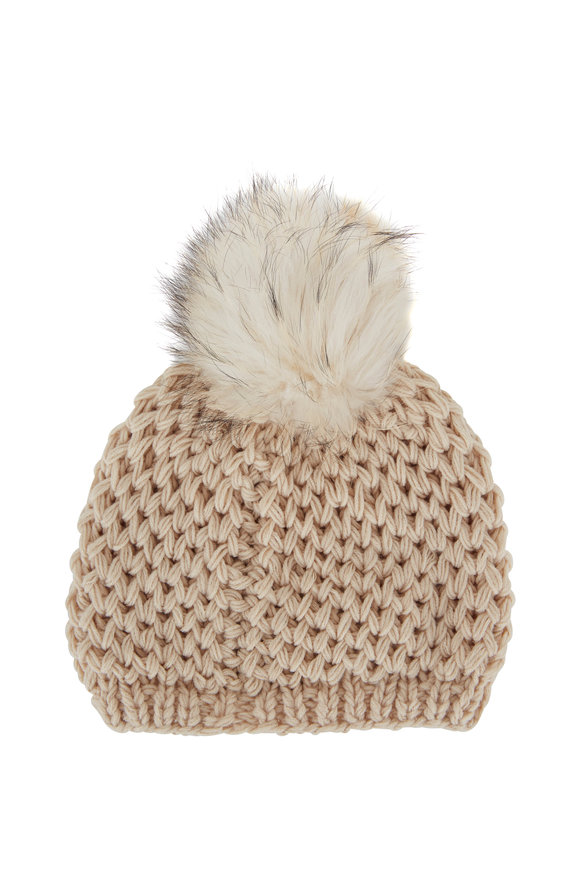 Viktoria Stass Ivory Fur Pom Pom Slouchy Knit Hat