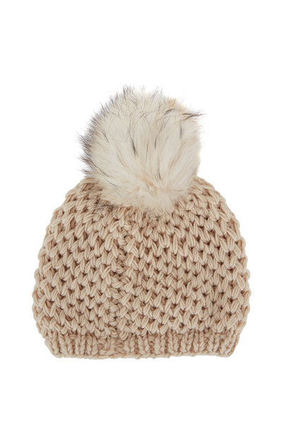Viktoria Stass - Ivory Fur Pom Pom Slouchy Knit Hat