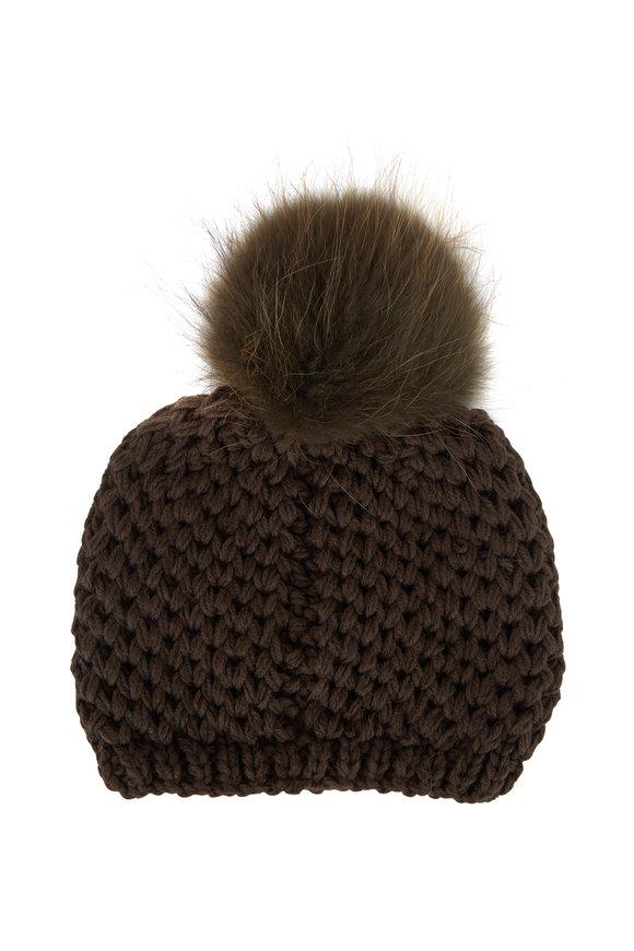 Viktoria Stass Army Green Fur Pom Pom Slouchy Knit Hat