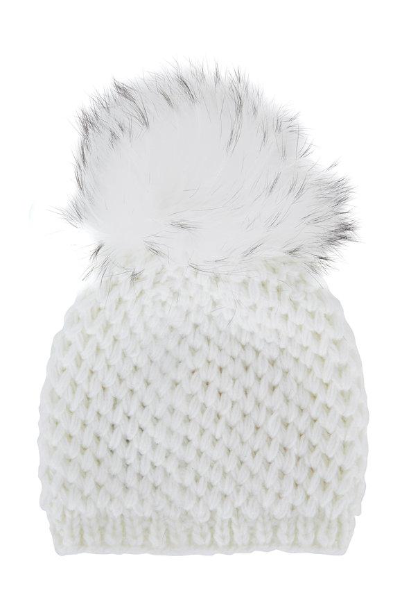 Viktoria Stass White Knit Fur Pom Pom Hat