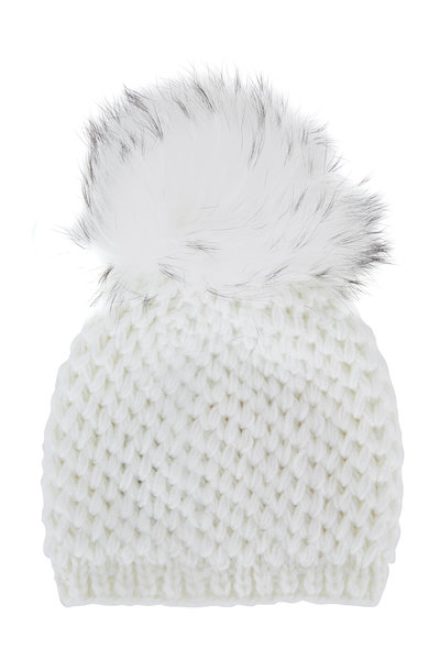 Viktoria Stass - White Knit Fur Pom Pom Hat