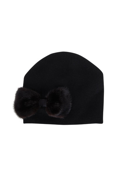 Viktoria Stass - Black Knit With Fur Bow Hat