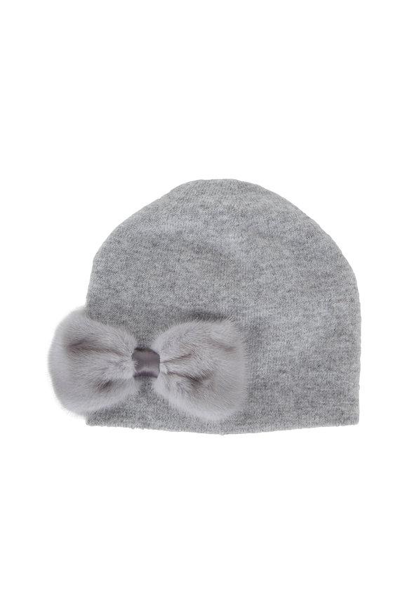 Viktoria Stass Light Gray Mink Bow Knit Beanie