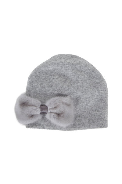 Viktoria Stass - Light Gray Mink Bow Knit Beanie
