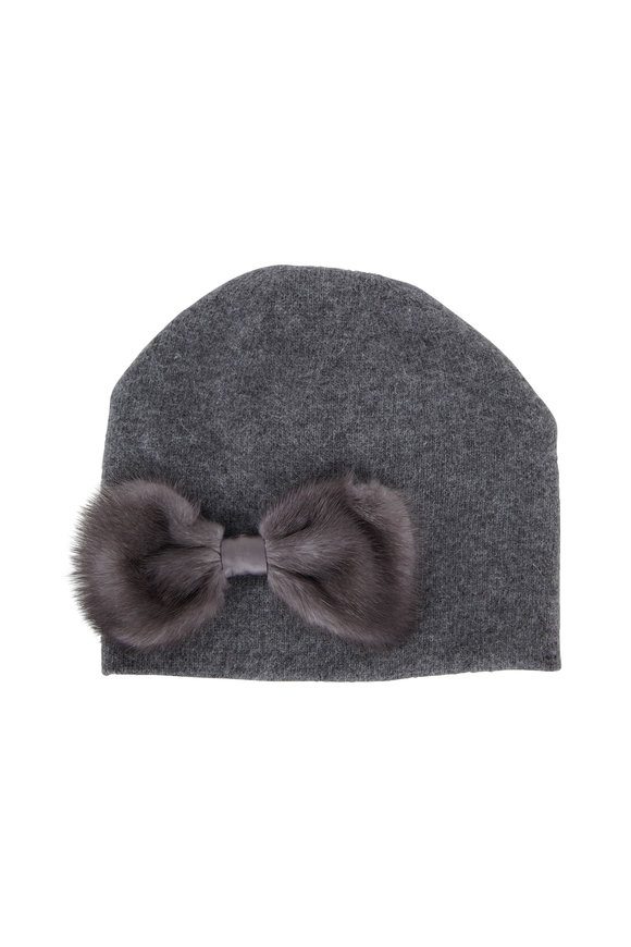 Viktoria Stass Dark Gray Fur Bow Knit Beanie