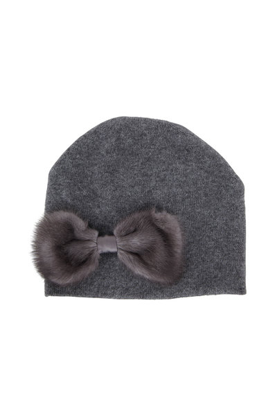 Viktoria Stass - Dark Gray Fur Bow Knit Beanie