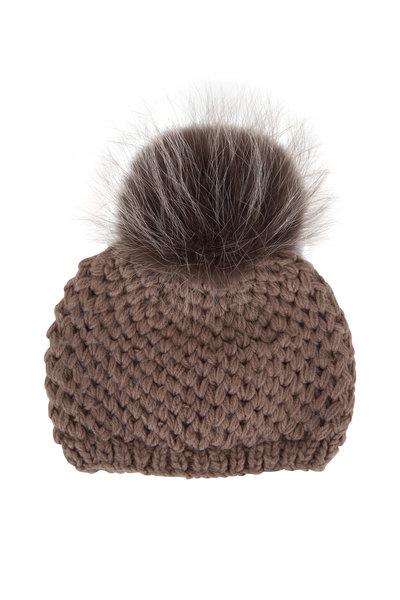 Viktoria Stass - Beige Knit Fur Pom Pom Slouchy Hat