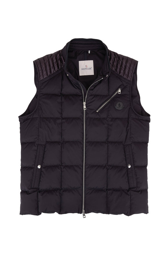 Moncler Black Front Zip Down Vest