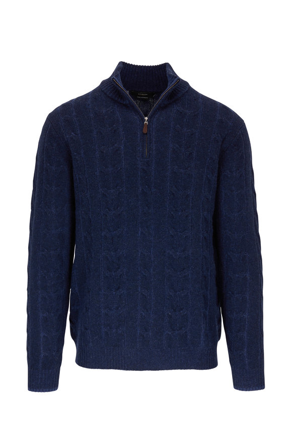 Kinross Navy Cable Knit Cashmere Quarter-Zip Pullover
