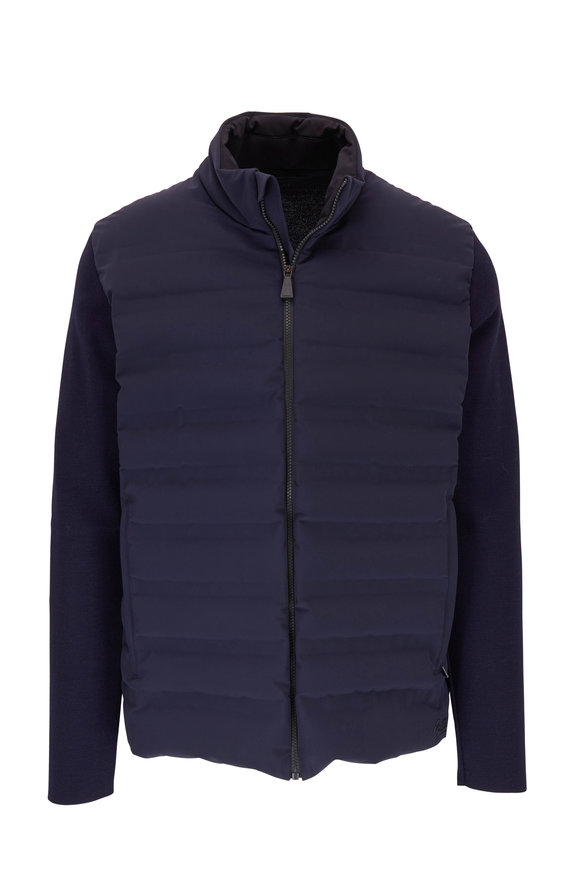 Aztech Mountain Dale Of Aspen Navy Knit Sleeve Quilted Jacket
