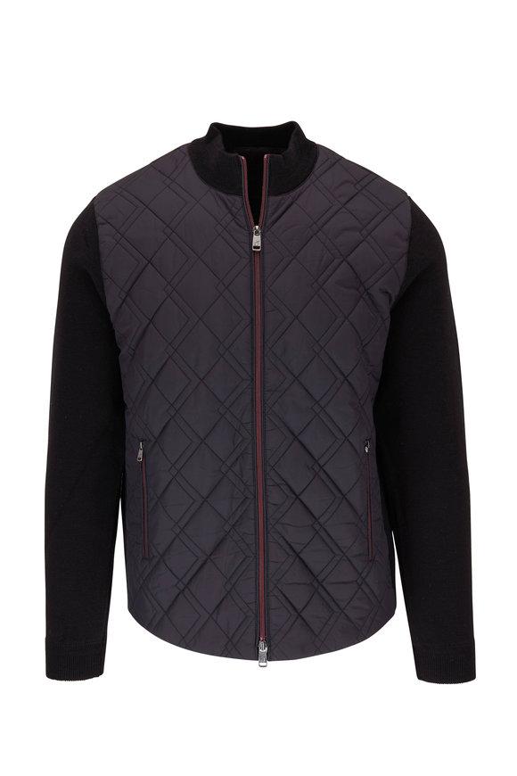 Raffi  Black Quilted Front Zip Jacket