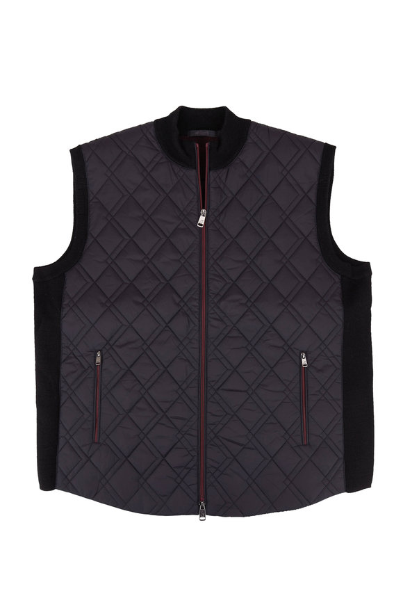 Raffi  Black Knit Quilted Front Zip Vest
