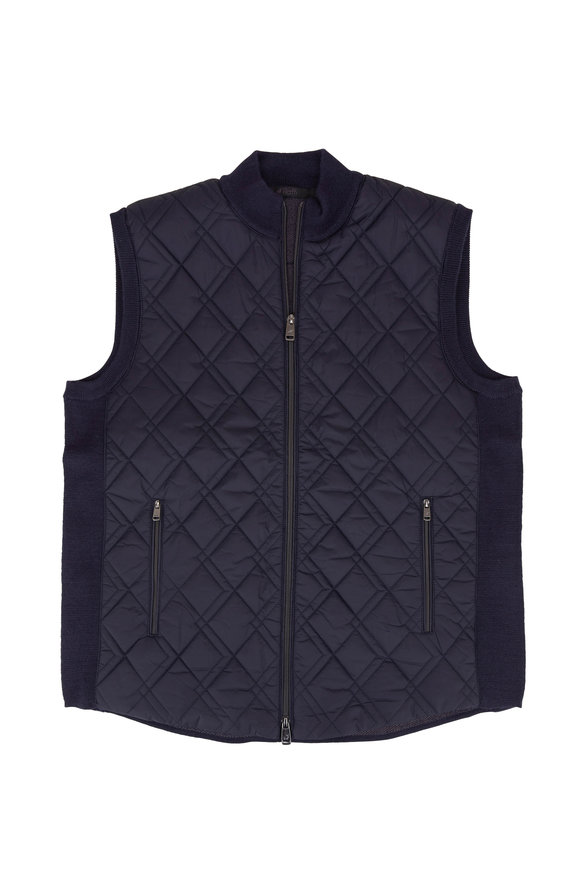 Raffi  Navy Quilted Front Zip Knit Vest