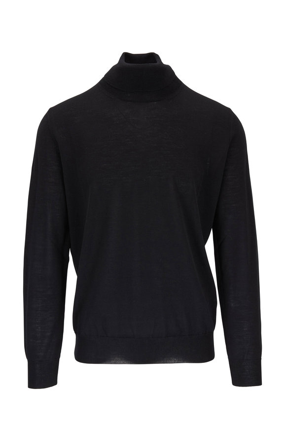 Canali Black Extrafine Merino Wool Turtleneck
