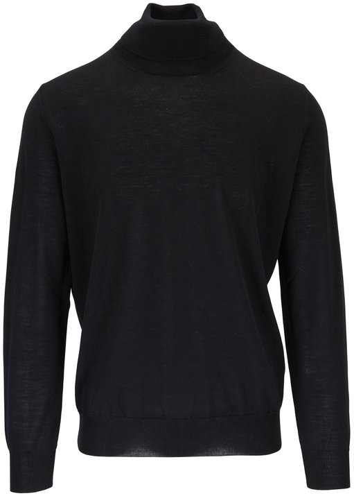 Canali Black Extrafine Merino Wool Turtleneck