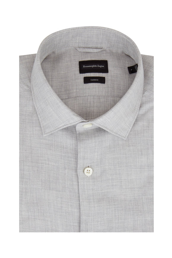 Ermenegildo Zegna Light Gray Solid Sport Shirt