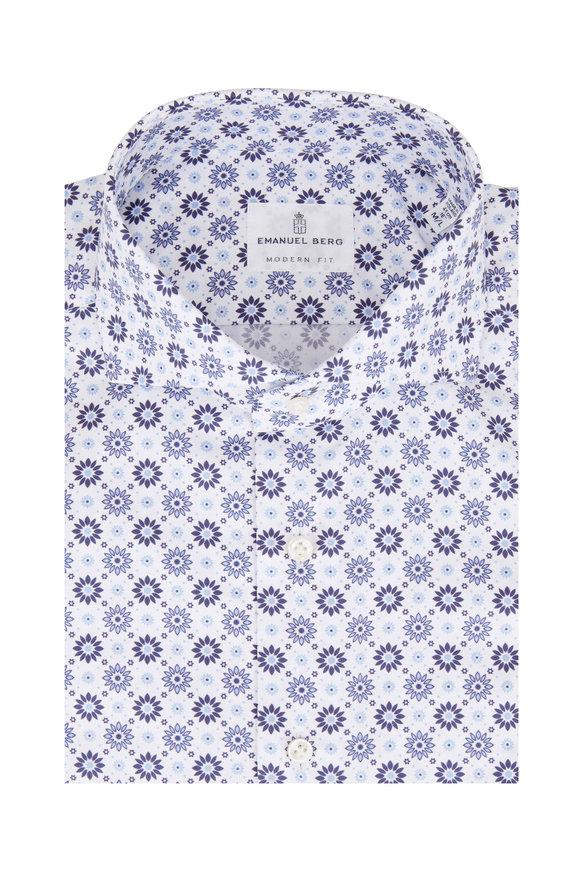 Emanuel Berg Navy Blue Floral Medallion Modern Fit Sport Shirt