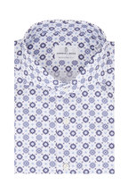 Emanuel Berg - Navy Blue Floral Medallion Modern Fit Sport Shirt