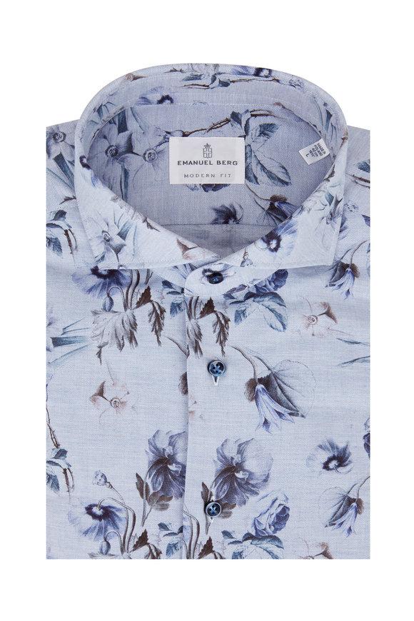Emanuel Berg Light Blue Floral Modern Fit Sport Shirt