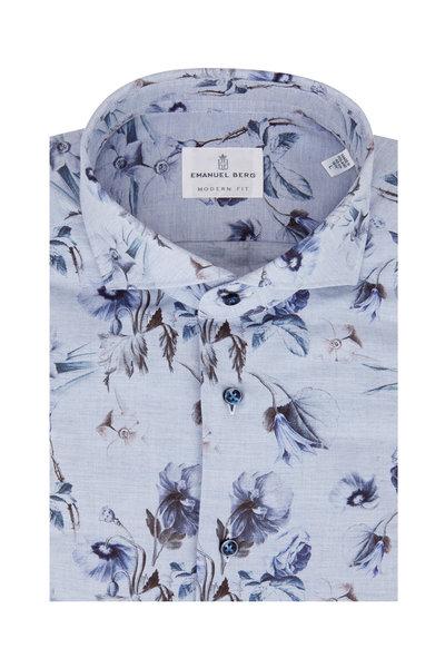 Emanuel Berg - Light Blue Floral Modern Fit Sport Shirt
