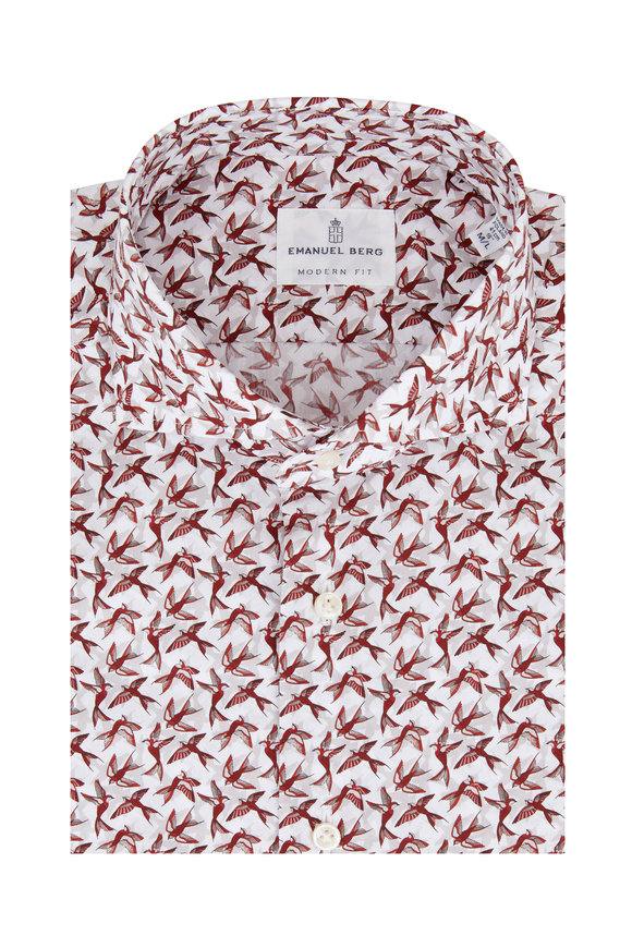 Emanuel Berg Burgundy Bird Pattern Modern Fit Sport Shirt