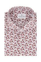 Emanuel Berg - Burgundy Bird Pattern Modern Fit Sport Shirt