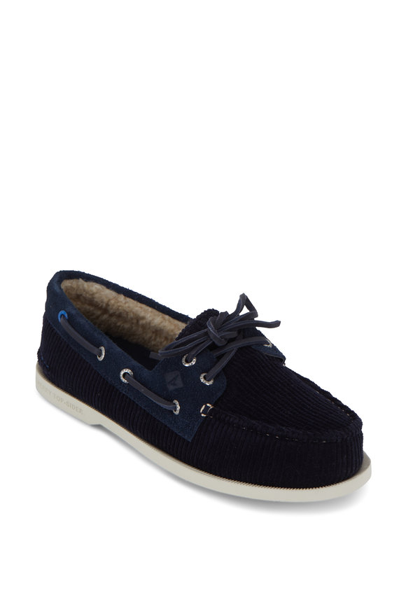 Sperry Authentic Original Navy Cozy Corduroy Boat Shoe